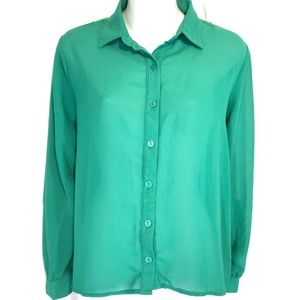 STARING AT STARS Emerald Green Oversized Top ~ XS